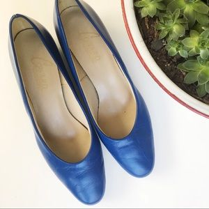 Shoes - Royal Blue Flats with mini heel